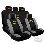 Deluxe Batman Car Seat Covers with 2 classic POW! logo Headrest Covers Bundled Gift Set