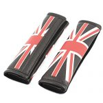 2 Pcs Black Red White Union Jack Pattern Car Seatbelt Shoulder Covers