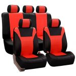 FH Group PU003TANGERINE115 Red Racing Style Faux Leather Seat Cover (Full Set Airbag compatible and Split Bench)