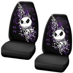 Nightmare Before Christmas Jack Skellington Purple Bats and Cross Bones Tim Burton Disney Car Truck SUV Universal-fit Bucket Seat Covers – PAIR