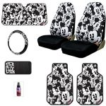 New Design 7 Pieces Disney Mickey Mouse Car Truck Seat Covers Floor Mats Steering Wheel Cover CD Visor Organizer Accessories Set with Travel Size Purple Slice